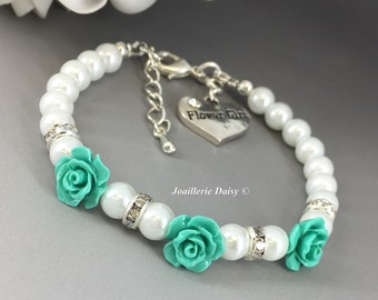 Flower Girl Jewelry Flower Girl Gift Flower Girl Bracelet Flower Bracelet Gift for Her Turquoise Aqua Teal Wedding 2017