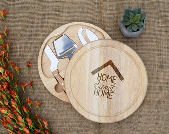 Home Sweet Home Cheese Board, Swivel Style w/ Tools, Real Estate Closing Gift, Realtor, Present, Housewarming Gift, Cutting Board, Engraved