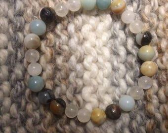 Amazonite and Moonstone Beaded Stretch Bracelet