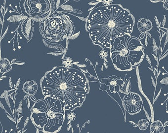 KNIT Line Drawings Bluing, blue with white flowers, Art Gallery Knit fabric/ Millie Fleur collection by Bari J, Sold by the 1/2 yard cut