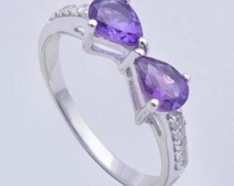 925 sterling silver ring,Handmade ring,Amethyst ring,sterling silver ring