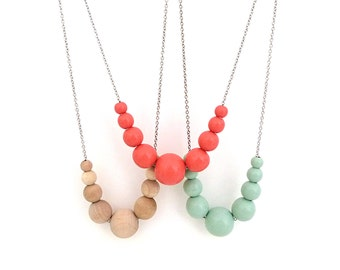 Coral necklace, graduated wood bead necklace, beaded necklace, mom necklace, spring jewelry, simple necklace, colored bead necklace