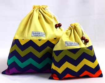 Large knitting bag, zigzag drawstring bag, bright project bag, yellow knitting bag fabric bag, fabric drawstring bag, UK knitting gift