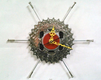 Recycled Triple Bicycle Sprocket & Spoke Wall Clock - Red