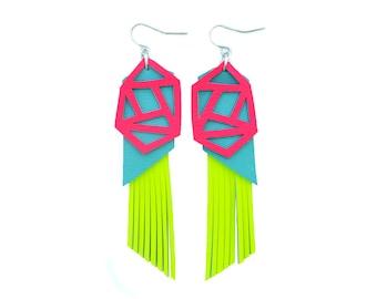 Geometric Earrings, Neon Yellow Earrings, Hot Pink Earring, Leather Earrings, Turquoise Earrings, Statement Earrings, Triangle Earrings
