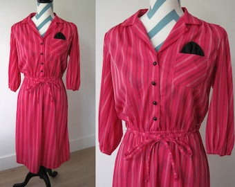 Vintage Pink Shirt Dress with Collar and Buttons, Waist Belt, Pocket, Sriped Stitch Embroidery - by Doo- Dads - Made in USA- Size Small