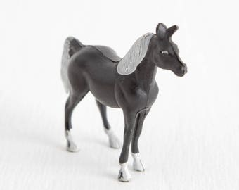 Vintage Miniature Black Horse, Standing Horse with White Mane and Tail, Terrarium Miniature