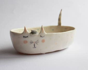 Maurice the Cat - sweet porcelain cat bowl, planter, ceramic bowl with gold dots