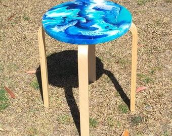 Resin Art Side Table or Stool. Blues