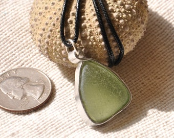Green Sea Glass Necklace, Authentic Seaglass, Hand-Made Jewellery, Bezel-Style Beach Glass Pendant, OOAK, Surf Tumbled
