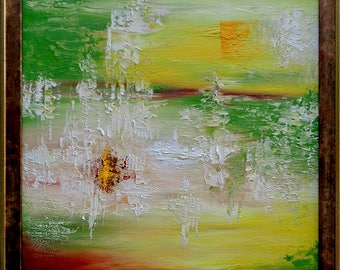 Original Painting Oil on Canvas by E.Misak Framed Art Abstract Landscape