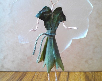 sculpture figurine decorative fairy (copper wire and stabilized plants)