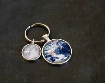 Moon and Earth Keychain - Custom Moon Phase Keyring and Earth and Solar System Planet Necklace