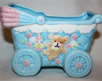 Inarco Blue and Pink Baby Buggy Planter, 1960 Mid Century Ceramic; Hand Painted Baby Planter; baby shower gift; new Mom gift