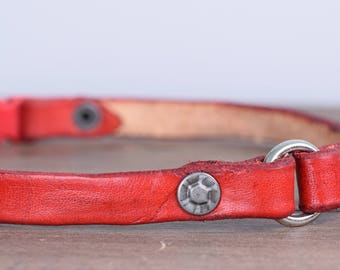 Breakaway Leather Dog Tag Collar with Vintage Rivets - Greyhound Tag Collar Whippet Tag Collar Red Sighthound Collar Safe Break Away Collar