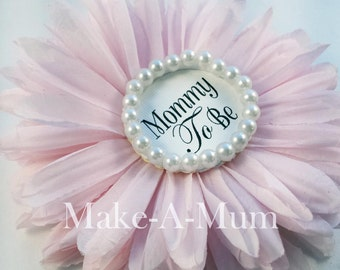 """6"""" Hand-dyed Peony PINK Baby Shower corsage, baby shower favor, Mommy To Be Pin, GLASS PEARLS,pEONY/pEARL/mTB"""