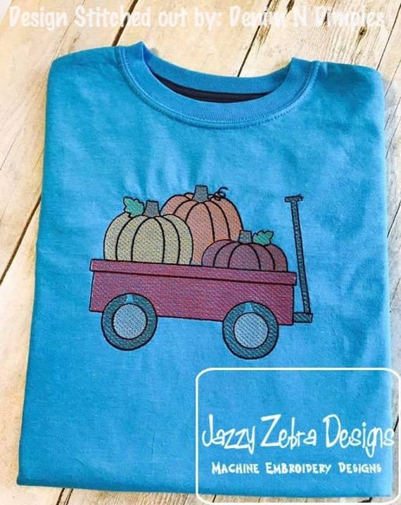 Pumpkins in wagon sketch embroidery design - Pumpkins embroidery design - sketch embroidery design - wagon embroidery design - halloween