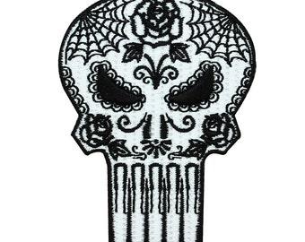 Punisher Sugar Skull Iron-On Patch Marvel Comics Hero Apparel Accessory Applique