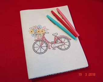 Red Bicycle with Flower Basket Composition Notebook Cover