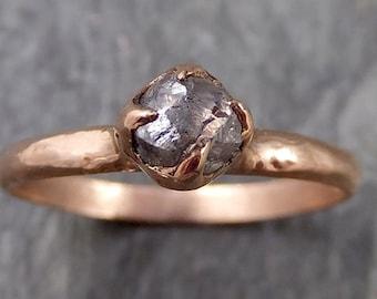 natural uncut salt and pepper Diamond Solitaire Engagement 14k rose Gold Wedding Ring byAngeline 1095
