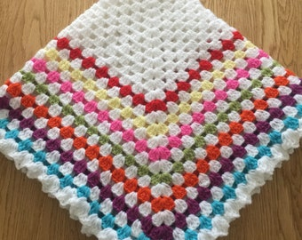 "Crochet Rainbow baby/toddler granny square blanket throw afghan 28x28"" Ideal new baby gift READY To SHIP"