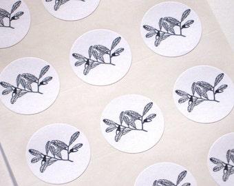 Oak Leaf Acorn Stickers - One Inch Round Seals