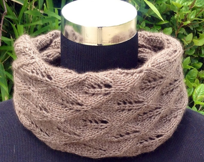 Pure cashmere lace knit brown / taupe snood, cowl, scarf by Willow Luxury