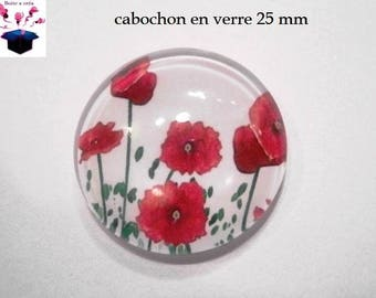 1 cabochon in. curved glass 25mm poppy theme