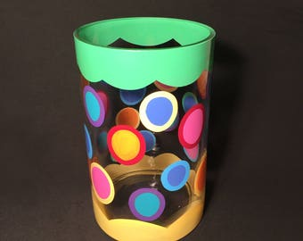 lime & yellow vase with colorful polka dots by detroit glass company
