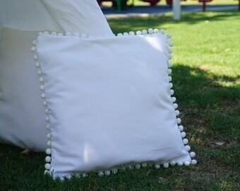 Pompom white canvas pillow cover