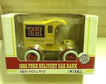 Vintage Ertl Bank New Holland 1905 Ford Delivery Car Die Cast MIB