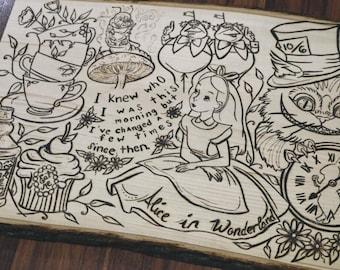 LARGE Alice in Wonderland wood burned decor