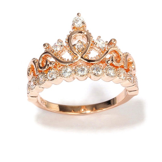 Rose Gold plated Sterling Silver Crown Ring Princess Ring