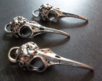 Silver Bird Skull Pendants - Flower and Vine Design on Top - Realistic & Long Beaks - 14mm X 40mm Charms - Qty 3