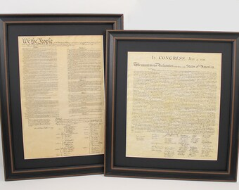 Framed Constitution and Declaration of Independence Set with Black Matte. Free Shipping!