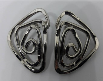 Abstract Silver Plated Vintage Pierced Earrings