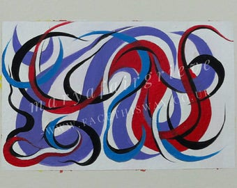 Abstract Blue Red and Lilac