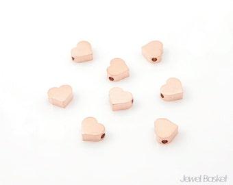 8pcs - Metallic Heart Bead in Matte Rose Gold Heart / rose gold / heart / brass / metal heart / heart charms / 6mm x 7mm / PMRG002-B