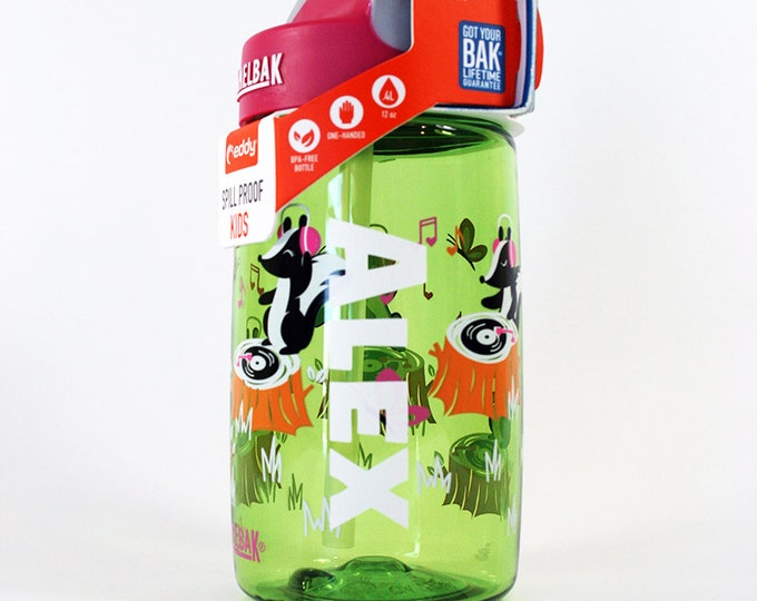 Personalized Kids CamelBak ® Water Bottle DJ Skunks - Bottle, Hydrate, Bite Valve, Student, Toddler, Skunkx, Cute, Music, Green, Pink  .4L