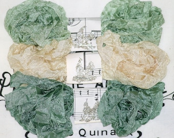 Crinkled Seam Binding , 18 YARDS ,  PASTORAL , Ribbon , Sage Greens  , Light Beige , Shabby Ribbon