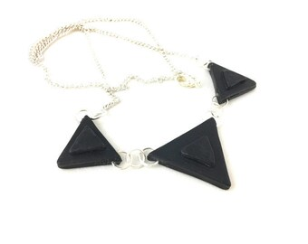 Black triangle necklace polymer clay with silver chain lightweight clay