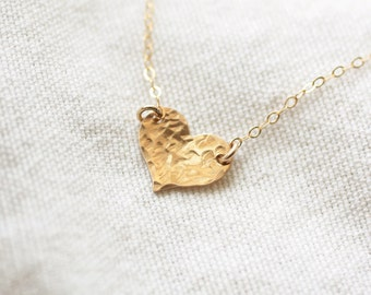 Tiny Heart Necklace, Gold, Silver, Rose Gold, Dainty Heart Charm, Gold Fill Necklace, Everyday Necklace, Minimal Necklace, Delicate Jewelry