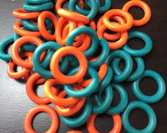 10mm Orange and Teal Rubber O Ring Mix ... 50 ct.