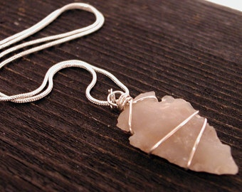 Jasper & Sterling Silver Wire Wrapped Arrowhead Necklace #D ~ Belfry Studios ~ FREE SHIPPING