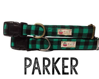 "Green Black Buffalo Plaid Handsome Boy Preppy Plaid Dog Collar - Organic Cotton Dog Collar - All Antique Metal Hardware - ""The Parker"""