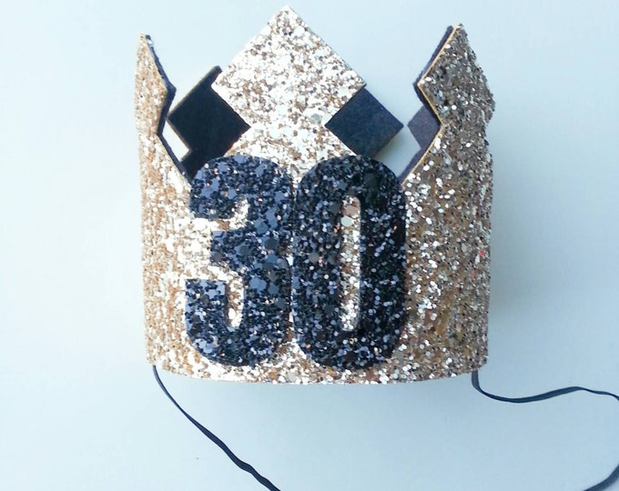 Black and Gold Glittery 30th Birthday Crown | Ready to Ship