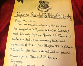 Wizarding World Universal Studios Acceptance Letter - Personalized & Handwritten - Hollywood + Orlando