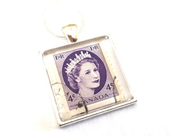 Canada Necklace Postage Stamp Glass Tile Pendant Canadian Recycled Material Repurposed Postal Mail Purple Queen Upcycled Paper Eco Jewelry