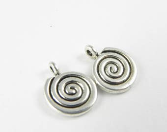 20 Spiral Charms - Antiqued Silver - 15mm x 12mm
