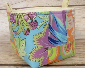 READY TO SHIP - Mini Small Fabric Storage Organizer Bin Bucket Bag  - Amy Butler Fabrics - Office Decor - Kitchen Decor